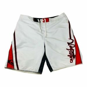 Quiksilver Mens Board Short White Red Black Spell Out Swim Bathing Suit Trunk 38