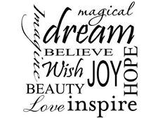 MAGICAL DREAM IMAGINE BELIEVE WISH Wall Decal Quote Words Lettering Decor DIY