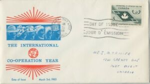 CANADA-1965-The-International-Co-operation-Year-addressed-FDC-JD2232