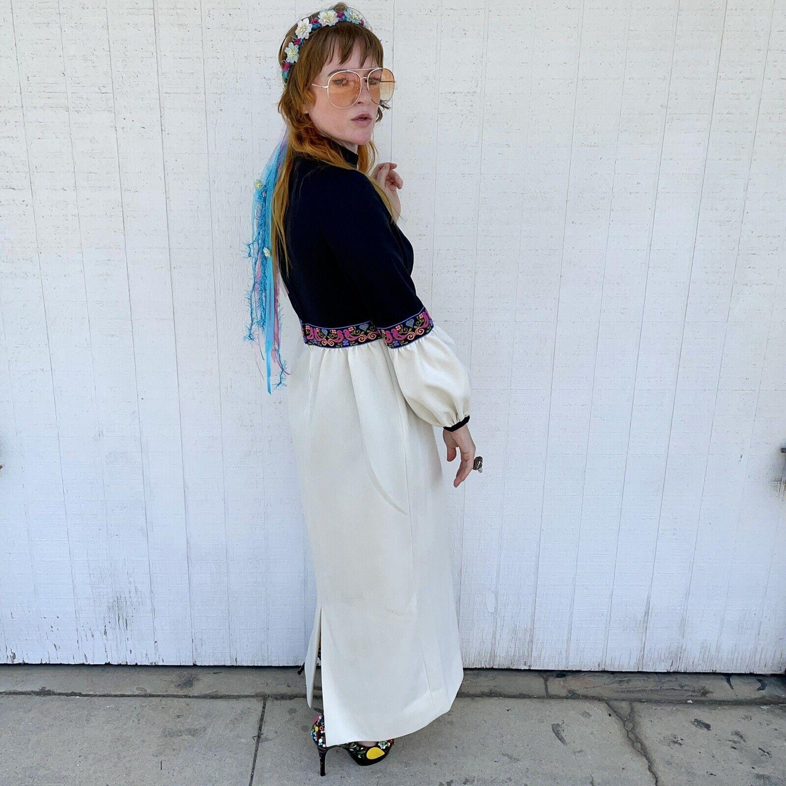 Vintage Fairycore Maxi Dress Hippie Clothes Puffy… - image 7