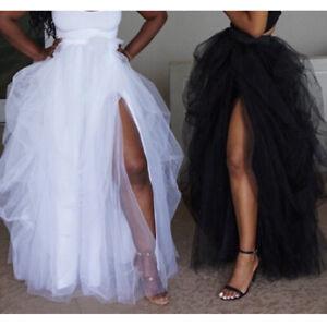 2019-Ladies-Women-New-Bubble-Tutu-Mesh-Long-Skirts-Dance-Tulle-Fishtail-Dress-Sz