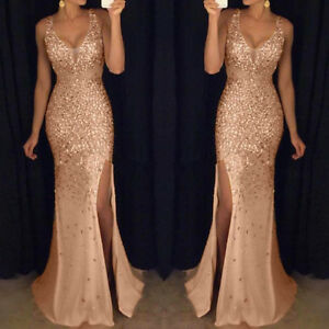 Sequin-Prom-Party-Ball-Gown-Sexy-Gold-Evening-Bridesmaid-Women-V-Neck-Maxi-Dress