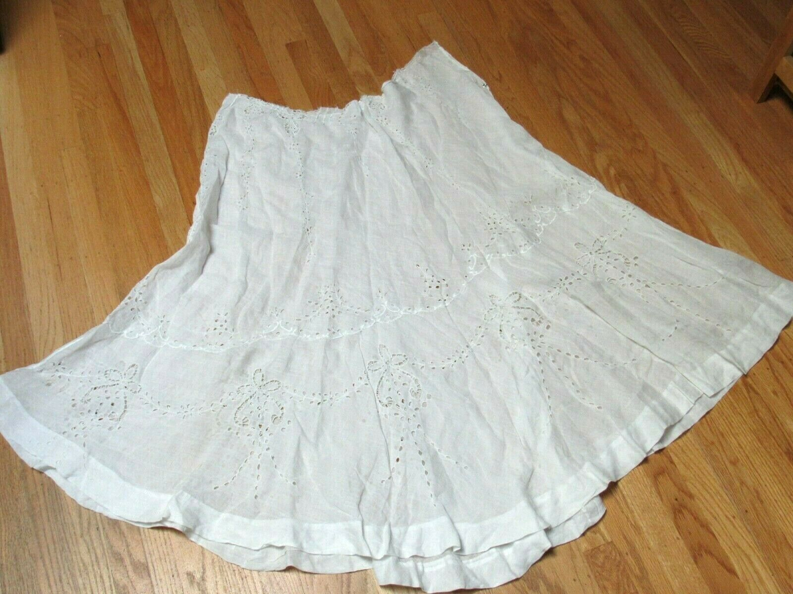 Antique Victorian White CottonPetticoat Slip Skirt Eyelet Needs Waistband Great!