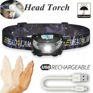 New-USB-Rechargeable-LED-Headlamp-3000Lm-Body-Motion-Sensor-Camping-Headlight
