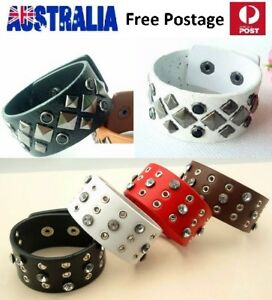 Fashion-Punk-Leather-amp-Stainless-Steel-Wide-Stud-Wristband-Woman-Bracelet-LB07
