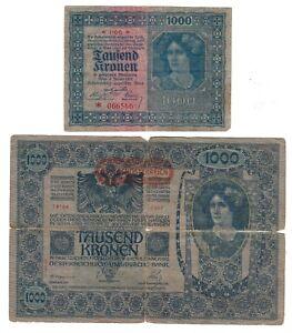 AUSTRIA-Lotto-di-2-banconote-da-1000-Tausend-Kronen-1902-1922
