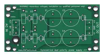 PACK OF FIVE Dual Polarity Symmetrical Power Supply PCB Only DIY For Audio Amp