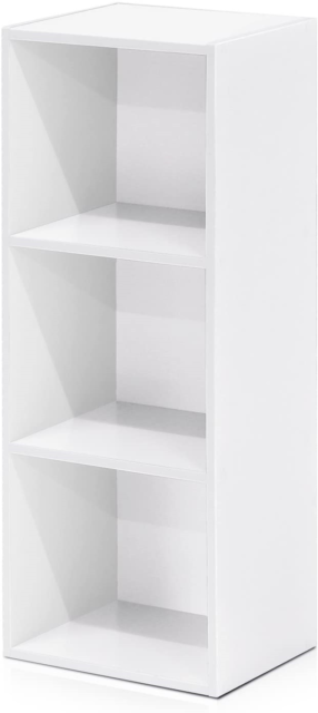 White Furinno Open Shelf Bookcase 3-Tier