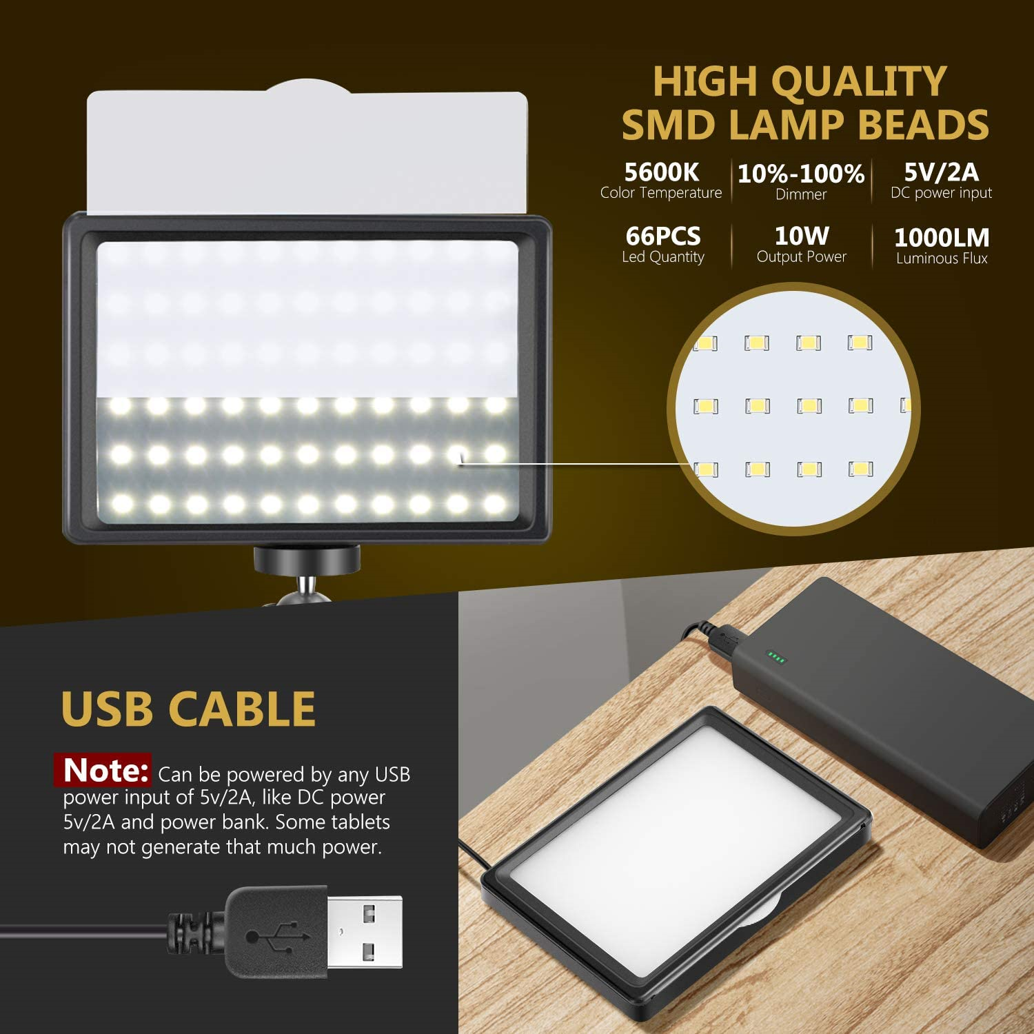 ONSEKO Desktop USB LED Video Light with 4-Color Filters and Tripod 116CM 66LED 2