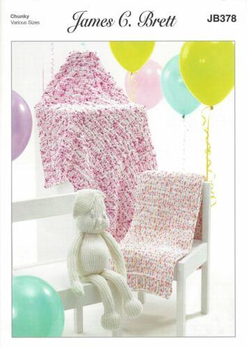 James C Brett Flutterby Chunky JB37 Knitting Pattern for Blankets and Toy Rabbit