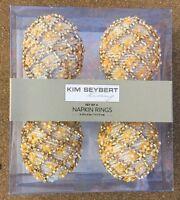 Kim Seybert Beaded Easter Egg Napkin Rings Set Of 4 Yellow Gold Bird