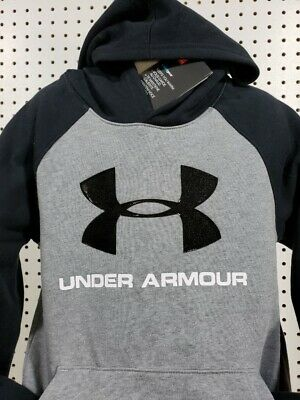 Boys Kids Youth UNDER ARMOUR Pullover Hoodie Large Long Sleeve Grey Big logo