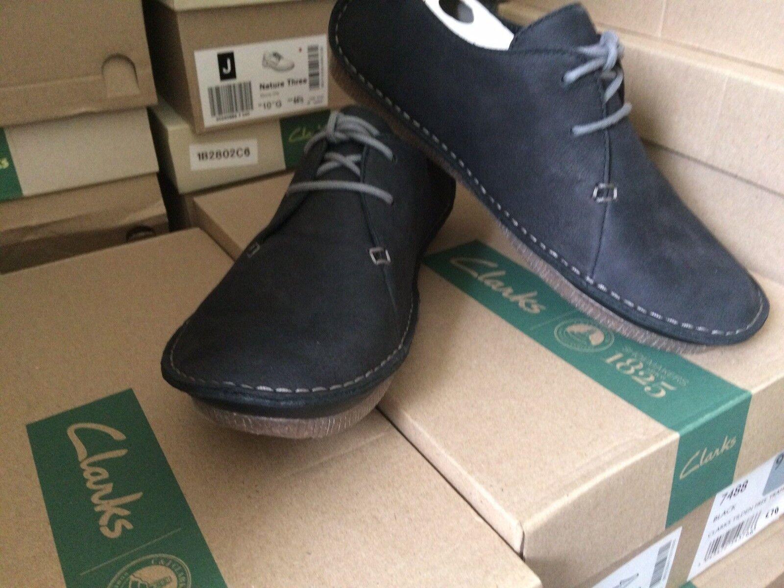 Clarks Janey Mae Femmes Noir nubuck flats, Chaussures. Taille UK 4,5D.