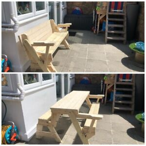 3-X-Folding-Garden-Picnic-Table-and-Bench-PLANS-ONLY-With-without-Arms-Child-s