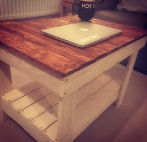 Pallet Wooden Coffee Tables White Washed Retro Shabby Chic Hand