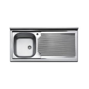Lavello cucina appoggio acciaio inox 100 cm lavandino con ...