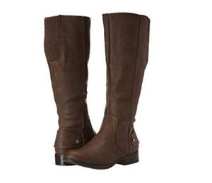 Nuevo Lifestride Xandy alto Coñac Oscuro Bronceado botas para mujer 8.5 Cremallera Lateral