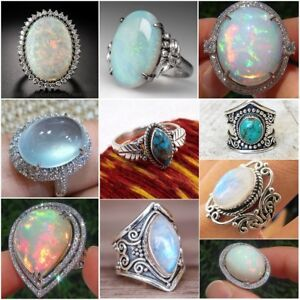 925-Silver-Ring-Woman-Fire-Opal-Moon-Stone-Turquoise-Wedding-Engagement-Size5-10