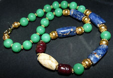 Ancient Pre-columbian Sodalite Beads - jade and and ancient shell necklace