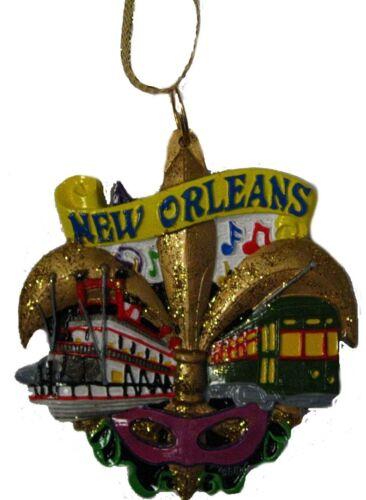 """New Orleans ORNAMENT Fleur De Lis Christmas party favor Mardi Gras  w Pouch /""""L/"""""""