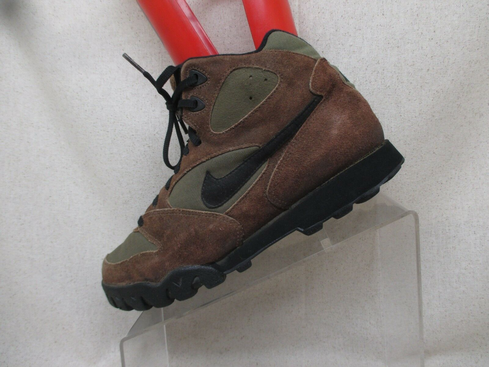 Nike Vintage Brown Green Suede Black Lace Up Trail Walking Mens Comfortable
