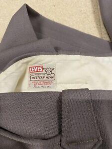 Vintage-1950-039-s-Levi-Strauss-Western-Wear-Short-Horn-Gabardine-Rockabilly-34x30-5