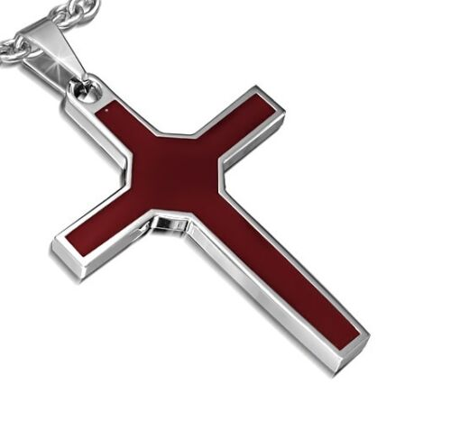 Silver and Brown Stainless Steel Cross Crucifix Pendant Necklace PLY1162