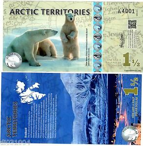 Arctic Territoires Billet 1 1/2 Polar 2014 Polymer Ours Polaire Neuf Unc Pcl8alhr-07212307-233173481