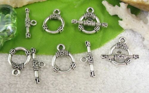 30sets Tibetan silver circle toggle clasps FC10395
