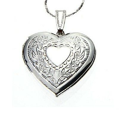 Pure 925 Sterling Silver Heart Shape Locket Necklace (Pendant + Chain) #006