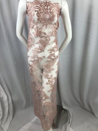 Vestido de encaje Tela de malla Polvoriento Rosa Flor Novia Boda Bordado por la yarda