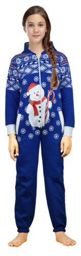 Kids Girls Boys Novelty Christmas Snowman Hooded One Piece Pajama Jumpsuit