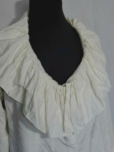 Ivory Blouse Ruffled Collar Hemline Pleated Wrists