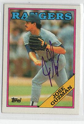 Jose Guzman 1988 Topps signed autographed auto card Texas Rangers