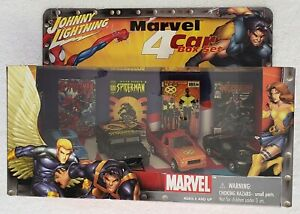 JOHNNY-LIGHTNING-MARVEL-4-CAR-BOX-SET-1-64-SCALE-DIE-CAST-METAL-AND-CHASSIS