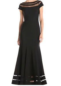 JS-Collection-Women-039-s-S-S-Illusion-Panel-Long-Ottoman-Gown-Black-Size-8-NWT