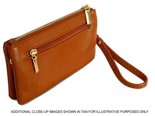 Ladies Plain Small Clutch Bag Multi Compartment Cross Body Purse Wristlet Strap