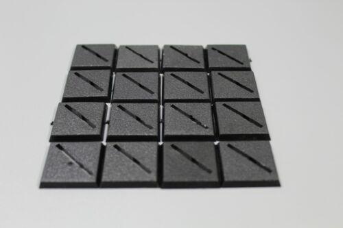 Wargaming Warhammer Miniature Bases Square 25mm Diagonal Slotta Hole X 20