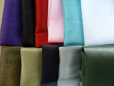 ORGANZA FABRIC SHEER VOILE MATERIAL WEDDING DECORATION METRE CURTAIN 110CM WIDE