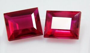 Natural-CERTIFIED-Emerald-Cut-9-Ct-Earring-039-s-Pair-Rare-Ruby-Loose-Gemstone