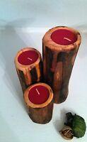Set Of Three Rustic Wooden Black Walnut Candle Holders Wedding/log Cabin Decor