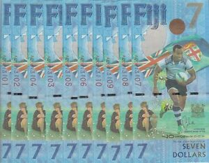 FIJI  7 DOLLARS X 10 UNC P-NEW BANKNOTES  RUGBY GOLD OLYMPIANS, UNC