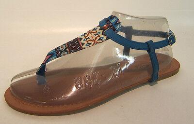 F0681-señoras Azteca Diseño Verano Sandalias, Colores-Rosa, Negro Y Azul Real.