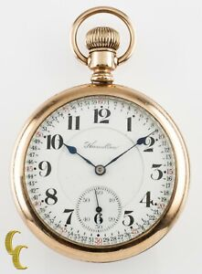 Hamilton Open Face Gold Filled Antique Pocket Watch Grade 992 16S 21 Jewel