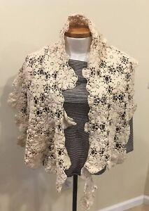 Antique-19th-Century-Handmade-Crochet-Lace-Shawl-Cream-Color-In-Exquisite-Detail
