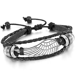 MENDINO-Men-039-s-Alloy-Leather-Bracelet-Woven-Angel-Wing-Feather-Braided-Adjustable