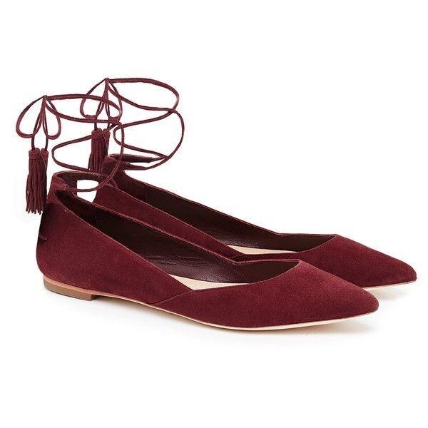 NIB Loeffler Randall Penelope Suede Bordeaux Flats Shoes Size 9.5 B