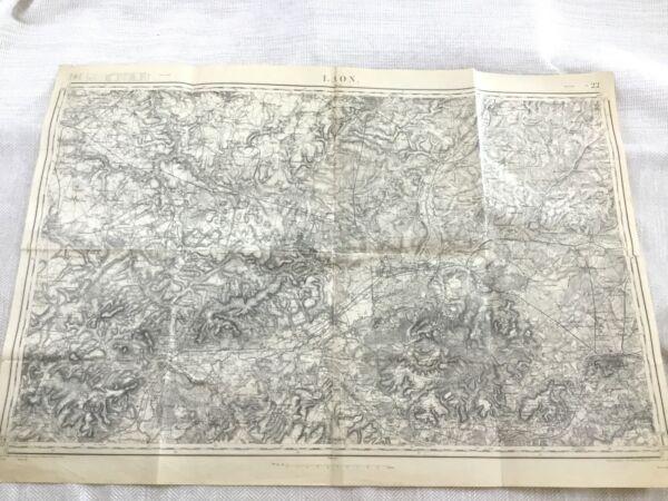 1912 Antik Französisch Karte Laon Aisne Department Northern France Alt Original