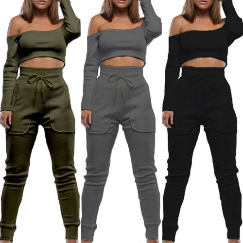 Womens Long Sleeve Tracksuit Off The Shoulder Crop Tops High Waisted Trouser Set