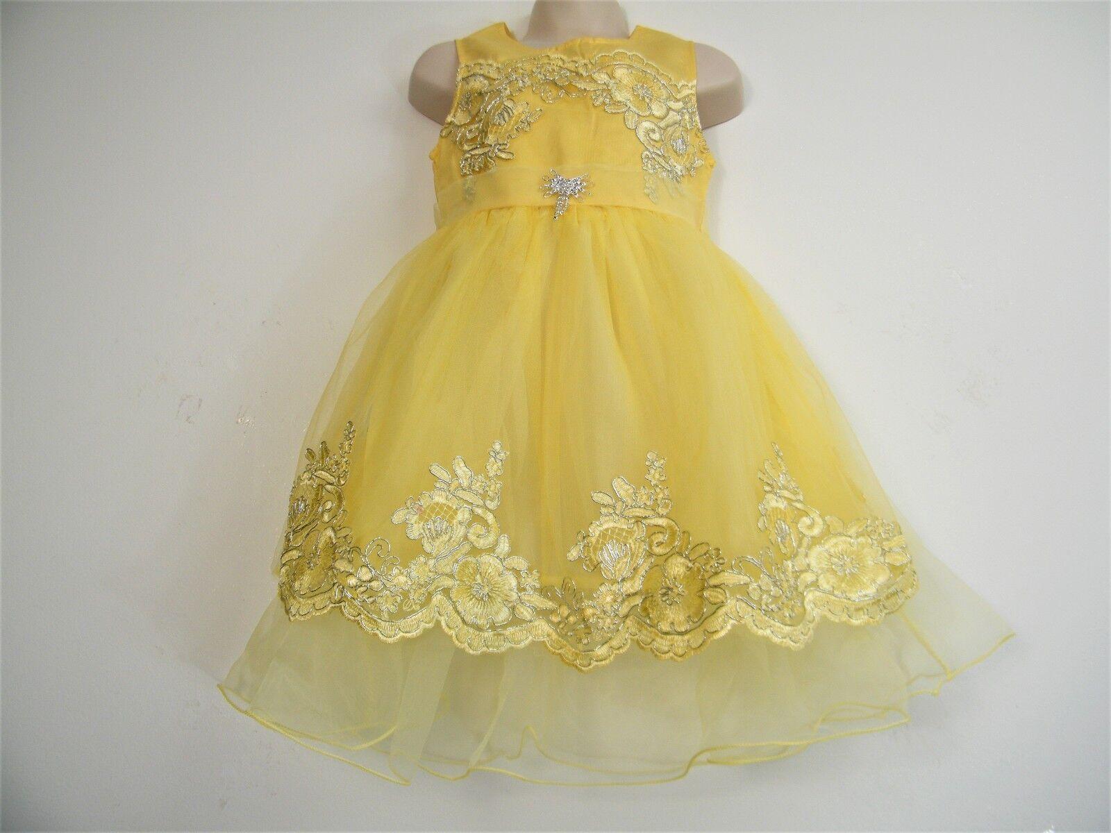 LEMON LACE & NET TUTU PARTY FLOWER GIRL WEDDING PRINCESS DRESS AGE 3-14